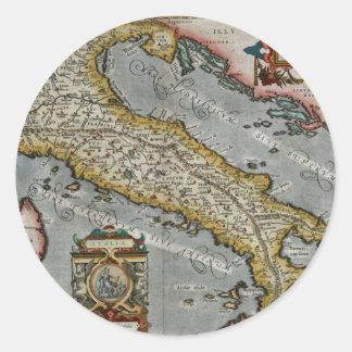 Mapa del vintage de Italia (1584) Pegatina Redonda