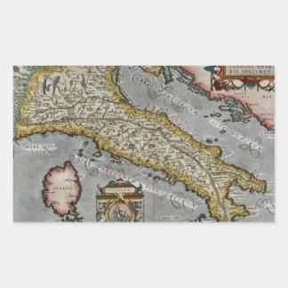 Mapa del vintage de Italia (1584) Pegatina Rectangular