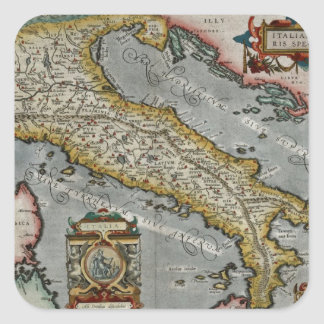 Mapa del vintage de Italia (1584) Pegatina Cuadrada