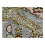 Mapa del vintage de Italia (1584) Postal