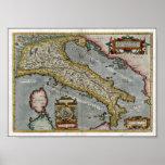 Mapa del vintage de Italia (1584) Poster
