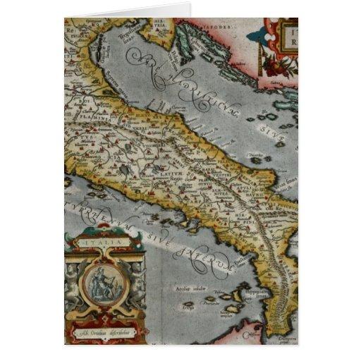 Mapa del vintage de Italia (1584) Tarjeta De Felicitación