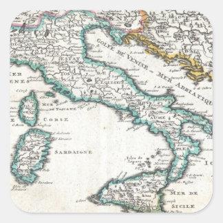 Mapa del vintage de Italia 1706 Calcomanias Cuadradas
