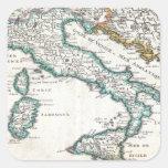 Mapa del vintage de Italia (1706) Pegatina Cuadrada