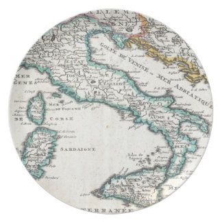 Mapa del vintage de Italia (1706) Platos
