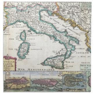 Mapa del vintage de Italia (1706) Servilleta De Papel