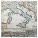 Mapa del vintage de Italia (1706) Servilletas