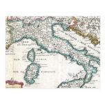 Mapa del vintage de Italia (1706) Tarjeta Postal