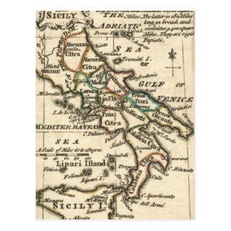 Mapa del vintage de Italia (1758) Postal