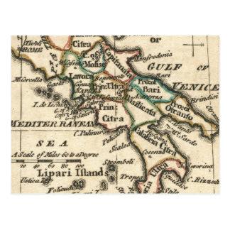 Mapa del vintage de Italia (1758) Tarjeta Postal