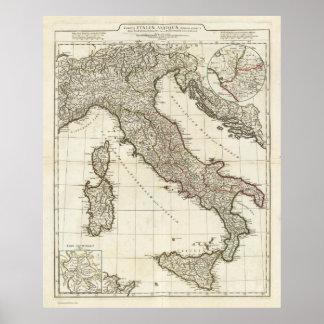 Mapa del vintage de Italia (1764) Póster