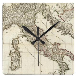 Mapa del vintage de Italia (1764) Reloj De Pared