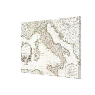 Mapa del vintage de Italia (1770) Lona Envuelta Para Galerias