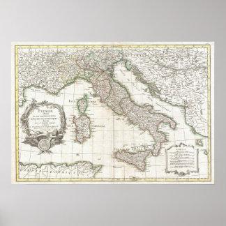 Mapa del vintage de Italia 1770 Posters