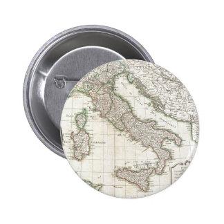 Mapa del vintage de Italia (1770) Pin Redondo De 2 Pulgadas