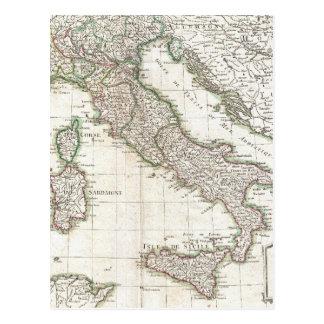 Mapa del vintage de Italia (1770) Postal