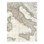 Mapa del vintage de Italia (1770) Postales