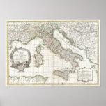 Mapa del vintage de Italia (1770) Póster