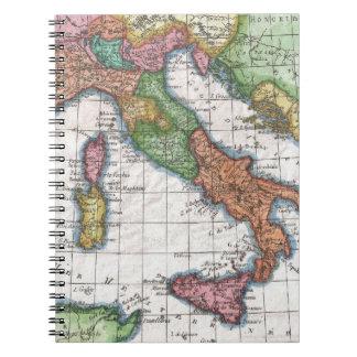 Mapa del vintage de Italia (1780) Libreta Espiral
