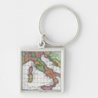 Mapa del vintage de Italia (1780) Llavero Cuadrado Plateado