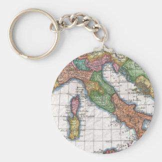 Mapa del vintage de Italia (1780) Llavero Redondo Tipo Pin