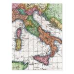 Mapa del vintage de Italia (1780) Tarjeta Postal