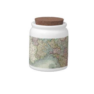 Mapa del vintage de Italia (1799) Jarras Para Caramelos