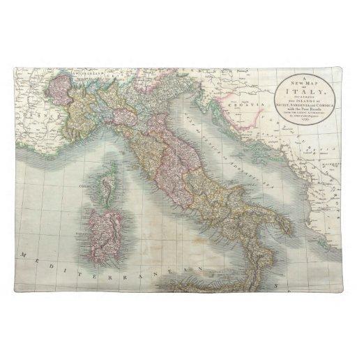 Mapa del vintage de Italia (1799) Mantel