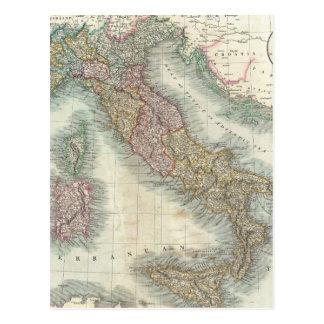 Mapa del vintage de Italia (1799) Postal