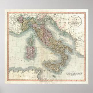 Mapa del vintage de Italia (1799) Póster