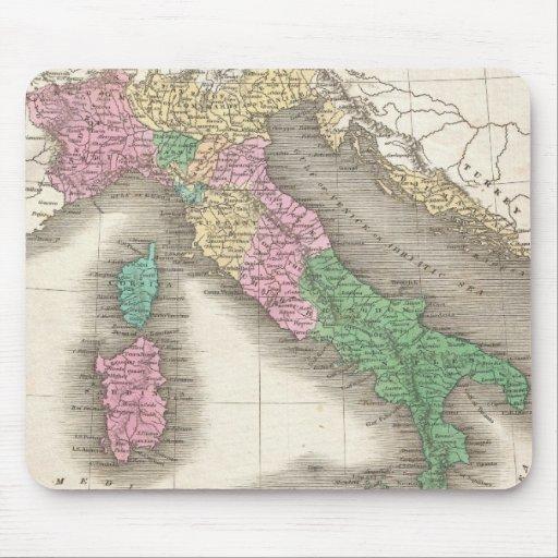 Mapa del vintage de Italia (1827) Mousepad