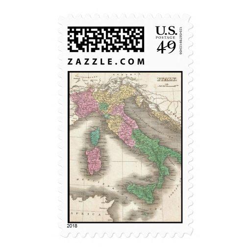 Mapa del vintage de Italia (1827) Timbre Postal