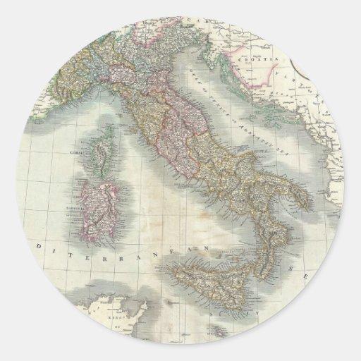Mapa del vintage de Italia Etiqueta