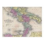Mapa del vintage de Italia meridional (1853) Postal