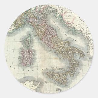 Mapa del vintage de Italia Pegatina Redonda