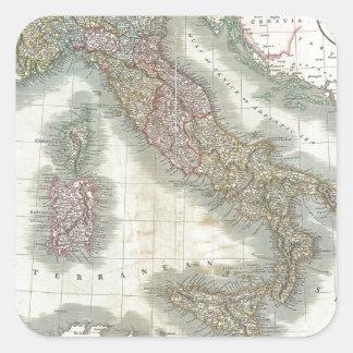 Mapa del vintage de Italia Pegatina Cuadrada