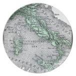 Mapa del vintage de Italia Plato De Cena
