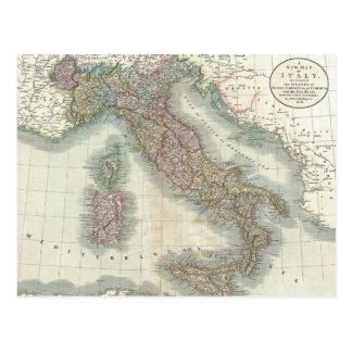 Mapa del vintage de Italia Postal
