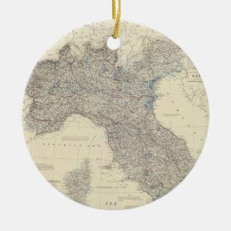 Mapa del vintage de Italia septentrional (1861) Ornamentos De Navidad