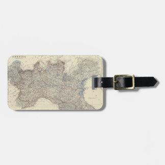 Mapa del vintage de Italia septentrional (1861) Etiquetas Para Maletas