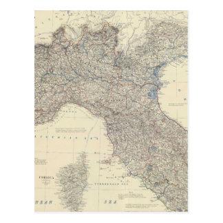 Mapa del vintage de Italia septentrional (1861) Postales
