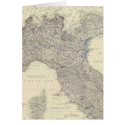 Mapa del vintage de Italia septentrional (1861) Tarjeton
