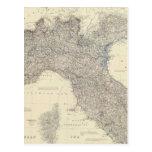 Mapa del vintage de Italia septentrional (1861) Tarjeta Postal