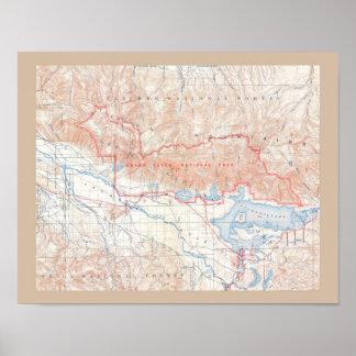 Mapa del vintage de Jackson Hole y de Tetons Póster