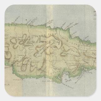 Mapa del vintage de Jamaica (1780) Pegatina Cuadrada