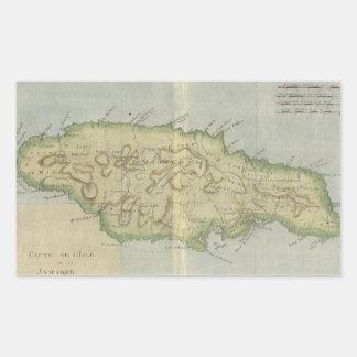 Mapa del vintage de Jamaica (1780) Pegatina Rectangular