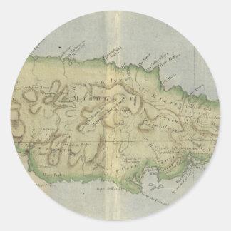 Mapa del vintage de Jamaica (1780) Pegatina Redonda