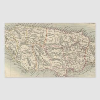 Mapa del vintage de Jamaica (1851) Pegatina Rectangular