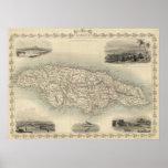 Mapa del vintage de Jamaica (1851) Póster