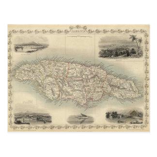 Mapa del vintage de Jamaica (1851) Tarjeta Postal